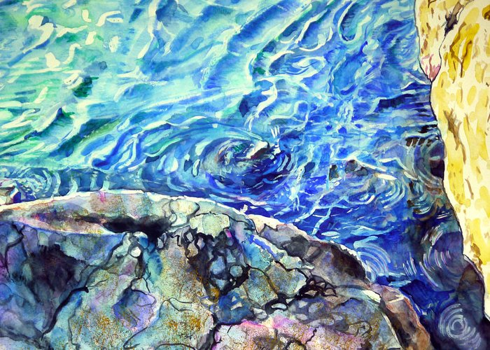 Seascape Greeting Card featuring the painting Swirls by Aymeric NOA