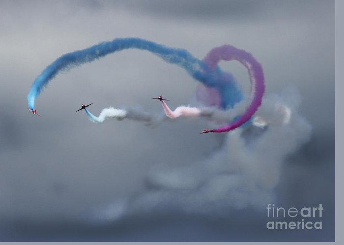 Red Arrows Greeting Card featuring the photograph Swirly Wirly by Angel Ciesniarska