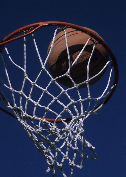 Phoenix Greeting Card featuring the photograph Swish. A Basketball by Stacy Gold
