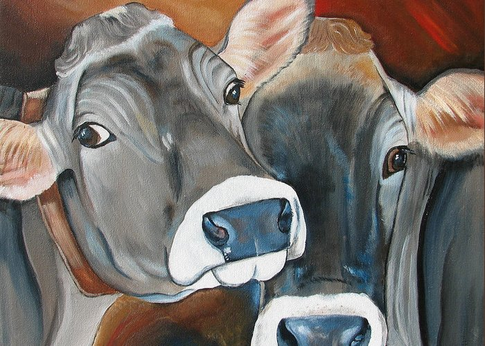 Brown Swiss Greeting Card featuring the painting Swiss Misses by Laura Carey