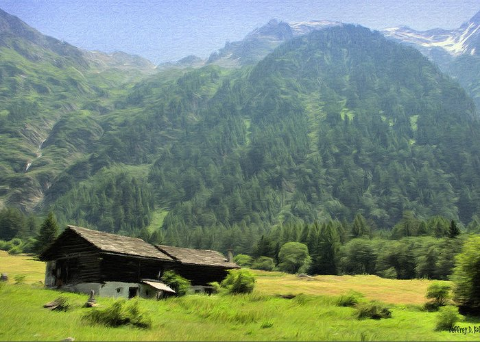 Switzerland Greeting Card featuring the painting Swiss Mountain Home by Jeff Kolker