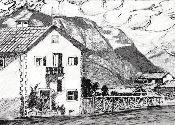Landscape Greeting Card featuring the drawing Swiss Mountain Trail by Monica Engeler
