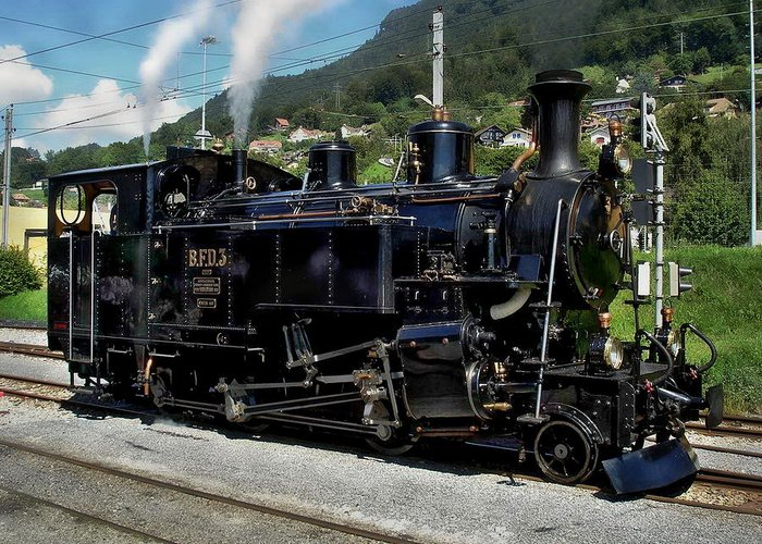 Steam Greeting Card featuring the photograph Swiss Steam Locomotive by Anthony Dezenzio