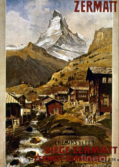 1898 Greeting Card featuring the painting Swiss Travel Poster, 1898 by Granger