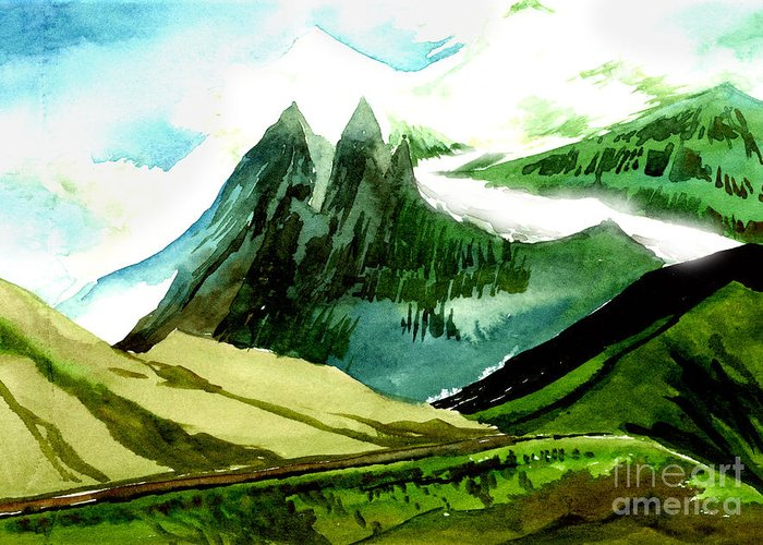 Landscape Greeting Card featuring the painting Switzerland by Anil Nene