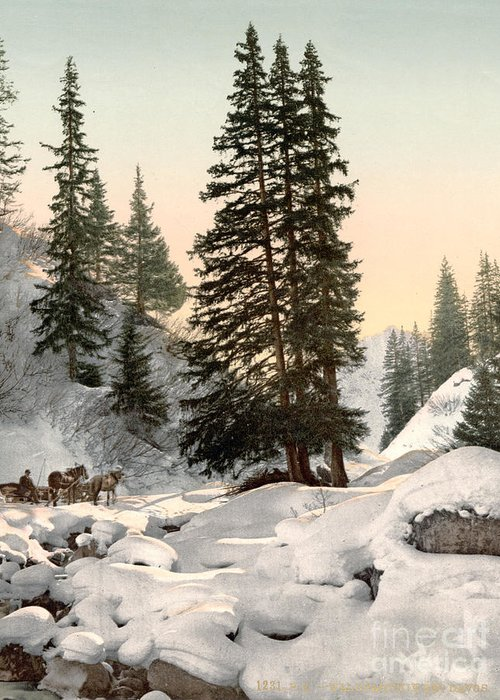 1895 Greeting Card featuring the painting Switzerland: Davos, C1895 by Granger