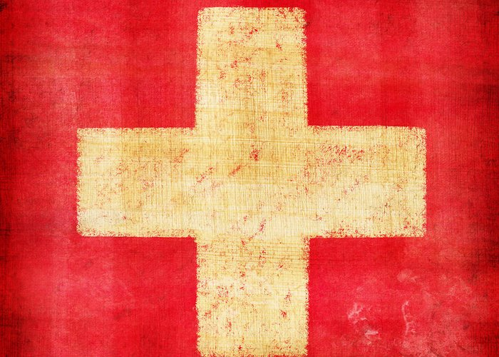 Abstract Greeting Card featuring the photograph Switzerland Flag by Setsiri Silapasuwanchai