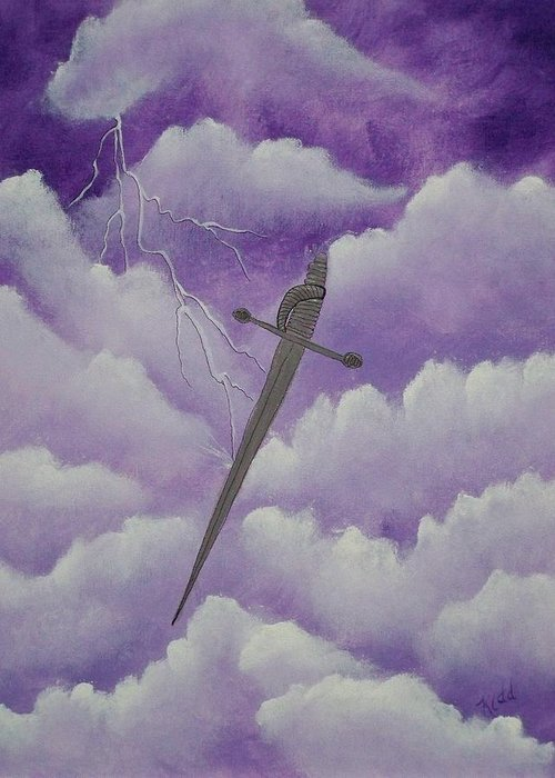 Silver Sword Greeting Card featuring the painting Sword Of The Spirit by Laurie Kidd