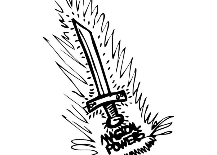 Drawing Greeting Card featuring the drawing Sword With Magical Powers by Karl Addison