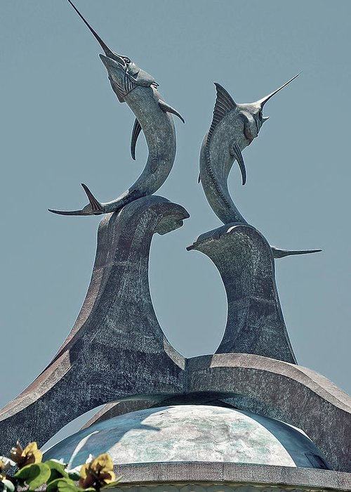 Swordfish Greeting Card featuring the digital art Swordfish Sculpture by DigiArt Diaries by Vicky B Fuller