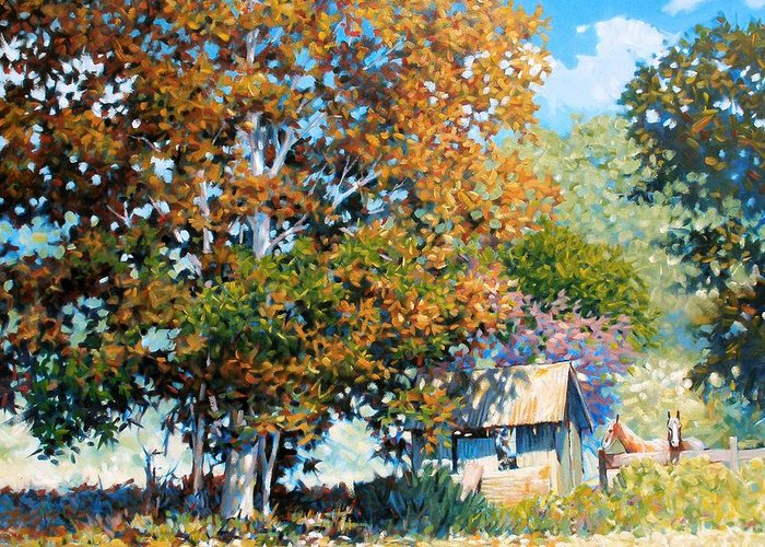 Landscape Greeting Card featuring the painting Sycamores With Tallow by Kevin Lawrence Leveque