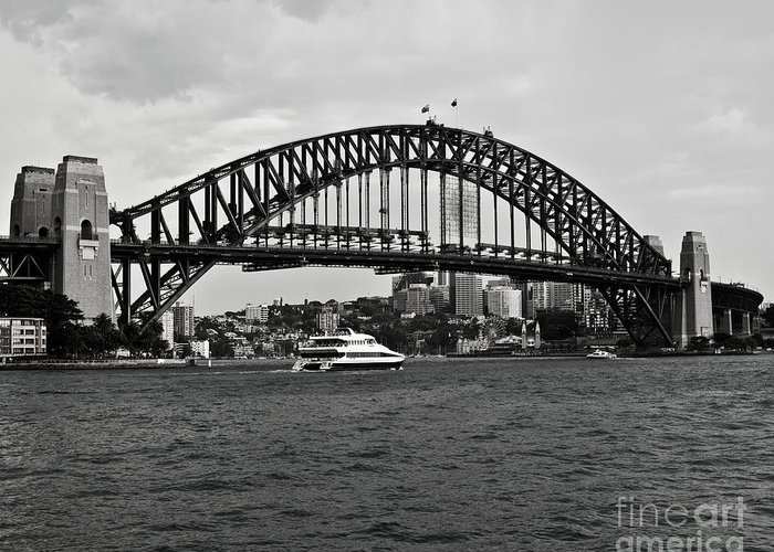 Sydney Harbour Bridge In Black And White Greeting Card featuring the photograph Sydney Harbour Bridge In Black And White by Chris Smith