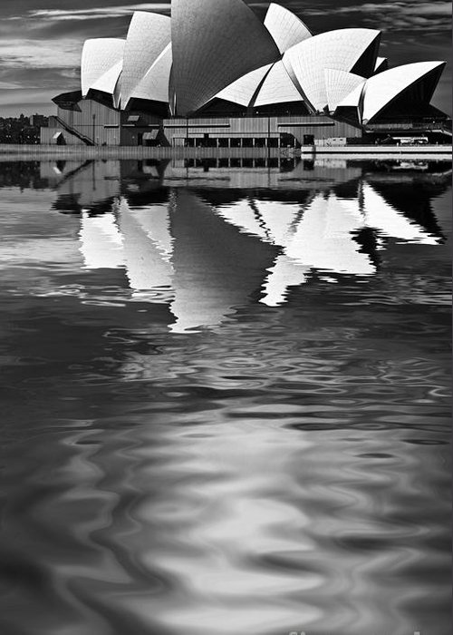 Sydney Opera House Monochrome Black And White Greeting Card featuring the photograph Sydney Opera House Reflection In Monochrome by Sheila Smart Fine Art Photography