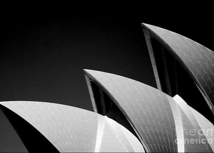 Sydney Opera House Iconic Building Black And White Monochrome Greeting Card featuring the photograph Sydney Opera House by Sheila Smart Fine Art Photography