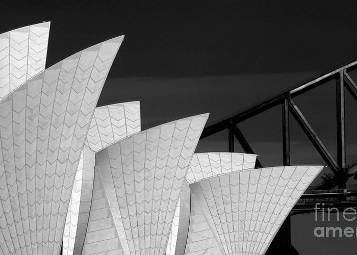 Sydney Opera House Greeting Card featuring the photograph Sydney Opera House With Bridge Backdrop by Sheila Smart Fine Art Photography