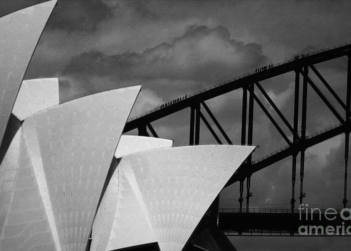 Sydney Opera House Greeting Card featuring the photograph Sydney Opera House With Harbour Bridge by Avalon Fine Art Photography