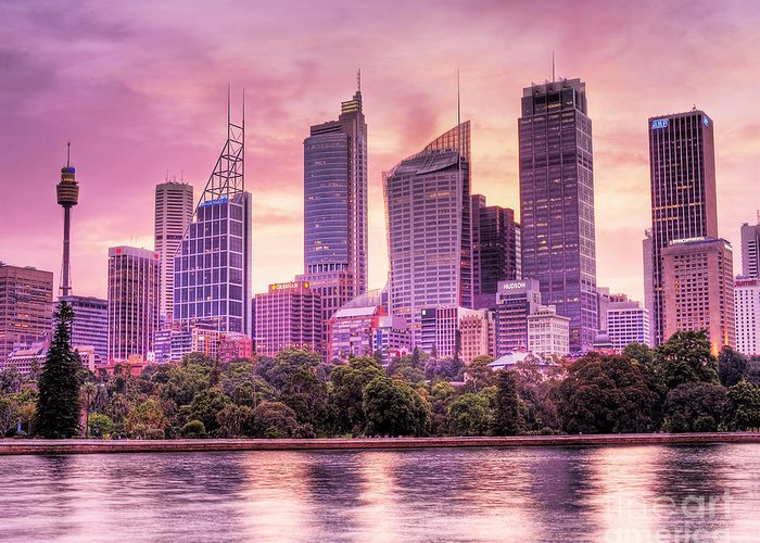 Sydney Greeting Card featuring the photograph Sydney Tower Skyline At Sunset by Chris Smith