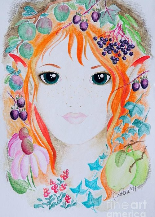 Fantasy Greeting Card featuring the painting Sygisand by Tiina Rauk