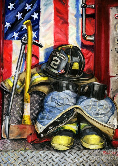 Firefighting Greeting Card featuring the painting Symbols Of Heroism by Paul Walsh