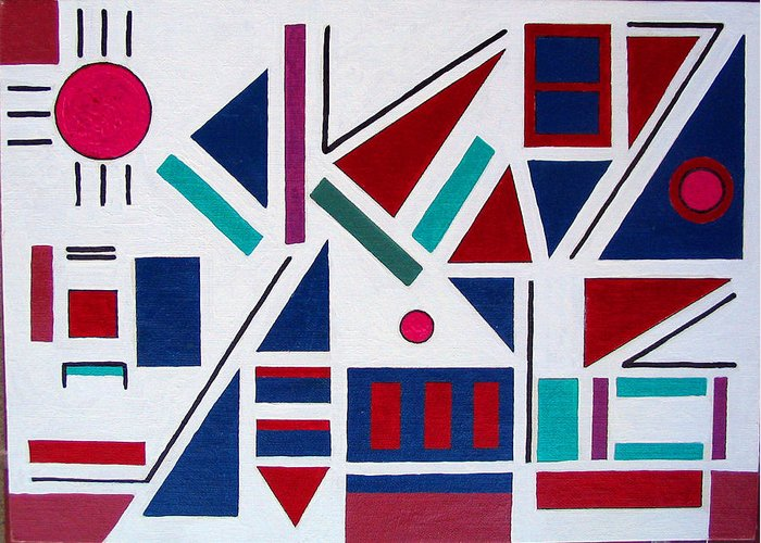 Abstract Greeting Card featuring the painting Symmetry In Blue Or Red by Marco Morales
