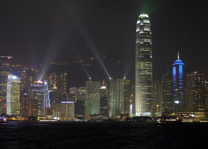 Hong Kong Greeting Card featuring the photograph Symphony Of Lights by Phil Stone