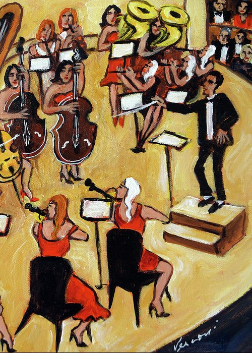 Carnegie Hall Orchestra Greeting Card featuring the painting Symphony by Valerie Vescovi