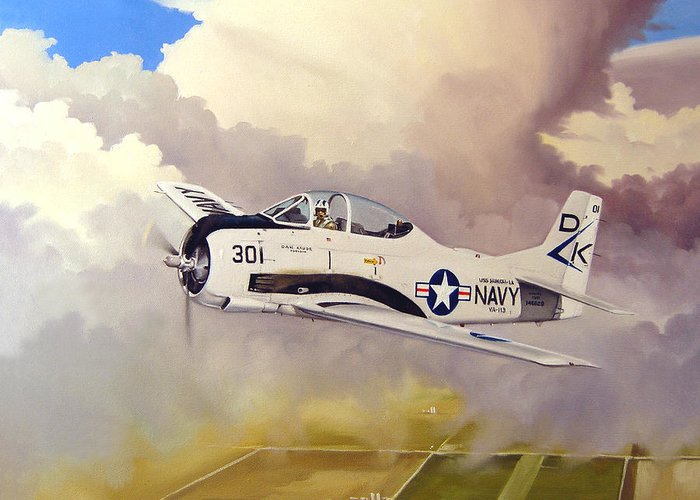 Military Greeting Card featuring the painting T-28 Over Iowa by Marc Stewart