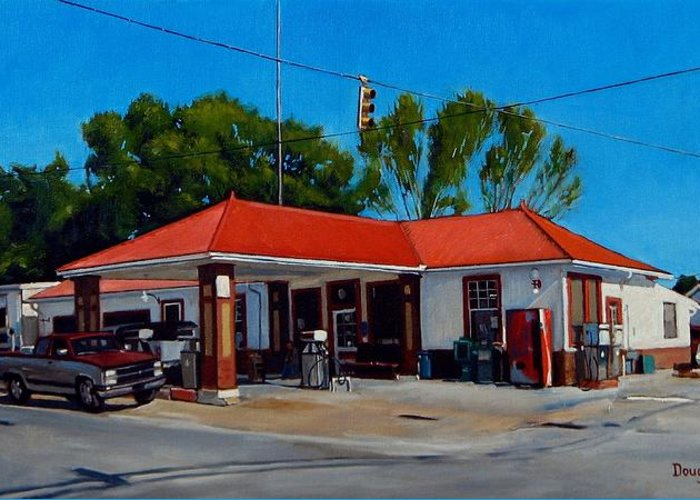 Doug Strickland Greeting Card featuring the painting T. R. Lee Service Station by Doug Strickland