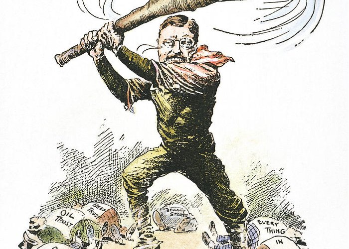 1904 Greeting Card featuring the photograph T. Roosevelt Cartoon, 1904 by Granger