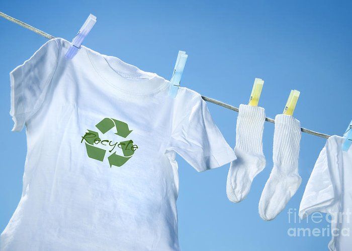 White Greeting Card featuring the digital art T-shirt With Recycle Logo Drying On Clothesline On A Summer Day by Sandra Cunningham