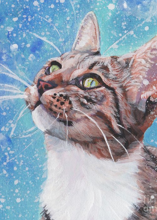 Tabby Cat Greeting Card featuring the painting Tabby Cat In The Winter by Lee Ann Shepard
