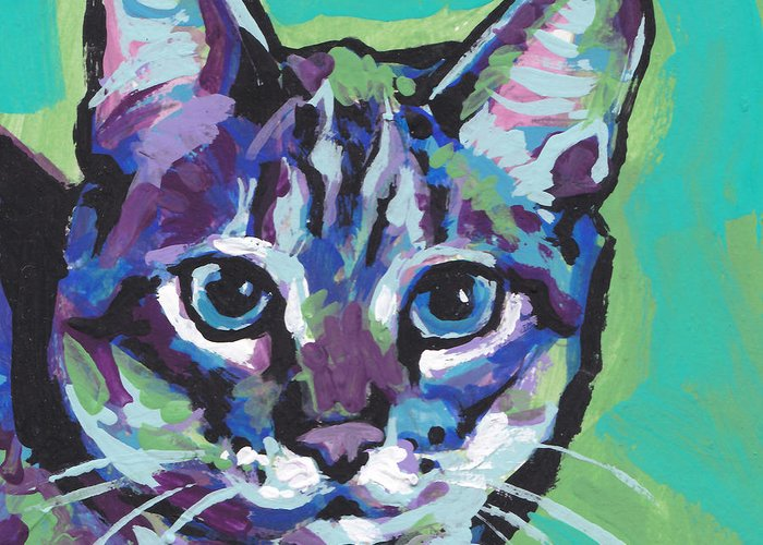 Tabby Cat Greeting Card featuring the painting Tabby Chic by Lea S