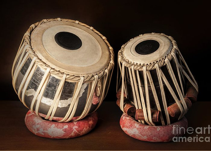 Tabla Greeting Card featuring the photograph Tabla Musical Instrument by Charuhas Images