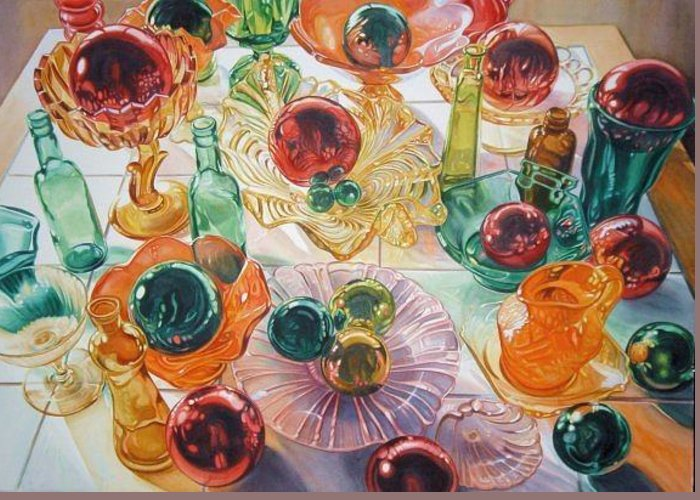 This Is A Watercolor Still Life Of Glass In Fall Colors Greeting Card featuring the painting Table Autumnal by Cynthia Peterson