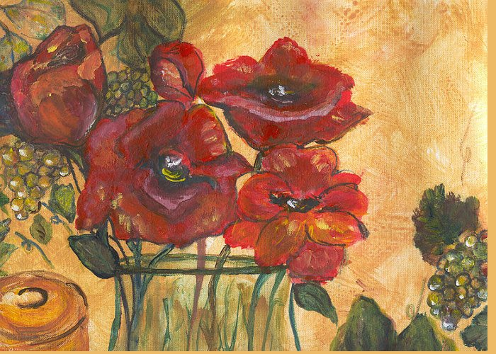 Flowers Greeting Card featuring the painting Table Flowers by Pamela Wilson