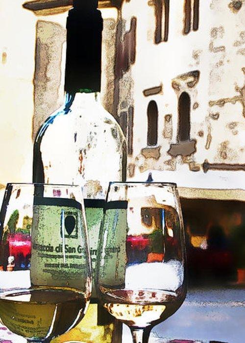 Wine Scene Digital Art Greeting Cards