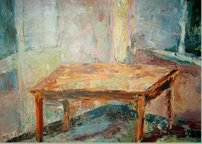 Table Room Floor Corner Greeting Card featuring the painting Table by Joseph Sandora Jr
