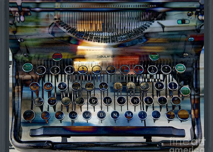 Typewriter Greeting Card featuring the digital art Tabulator by Chuck Brittenham