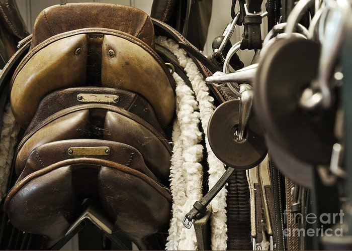 Equipment Greeting Card featuring the photograph Tac Room Saddles by John Greim