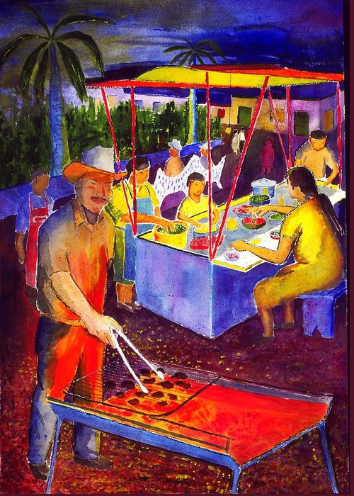 Plaza Greeting Card featuring the painting Taco Barbaque by Buster Dight