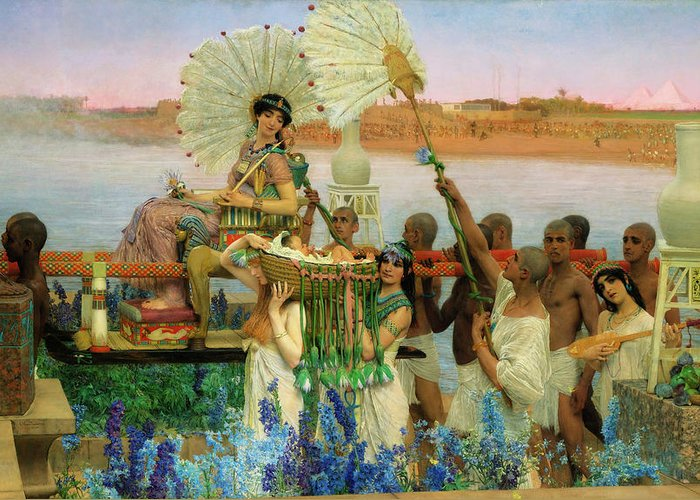 The Finding Of Moses Greeting Card featuring the painting The Finding Of Moses by Sir Lawrence Alma-Tadema