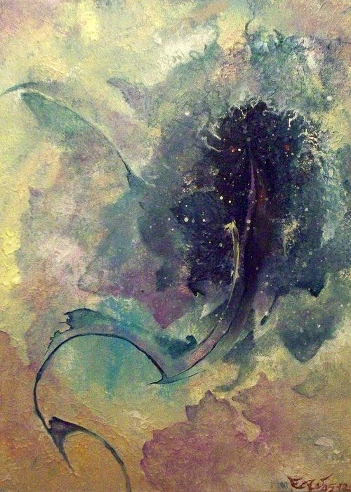 Abstract Greeting Card featuring the painting Tadpole by Fred Wellner