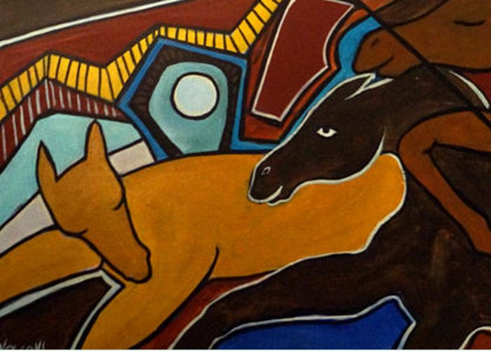 Horse Abstract Greeting Card featuring the painting Taffy Horses by Valerie Vescovi