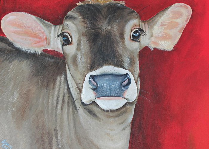 Brown Swiss Greeting Card featuring the painting Taffy by Laura Carey