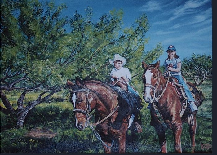 Portrait Greeting Card featuring the painting Taggart Grandchildren by Diann Baggett