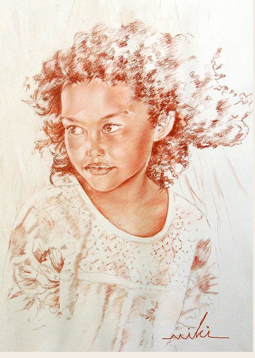 Drawing Persons Greeting Card featuring the painting Tahitian Girl by Miki De Goodaboom