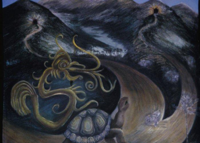 Myth Greeting Card featuring the painting Taino Eve Creation Myth by Barbara Nesin