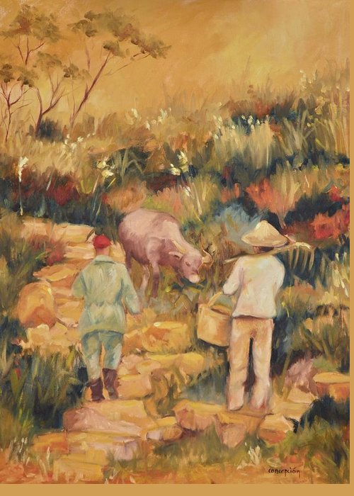 Water Buffalo Greeting Card featuring the painting Taipei Buffalo Herder by Ginger Concepcion