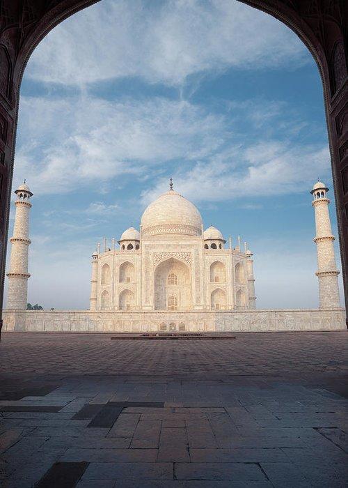 Taj Mahal Doorway Silhouette Nobody Blue Sky Cloud Greeting Card