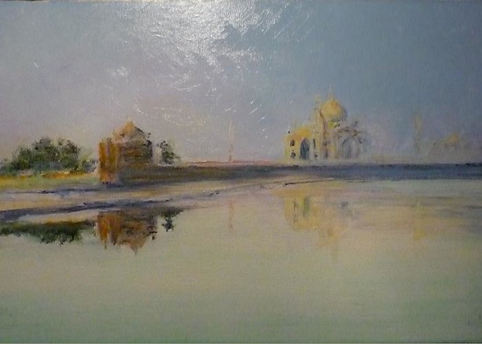 Taj Mahal Greeting Card featuring the painting Taj Mahal Sunrise by Lizzy Forrester